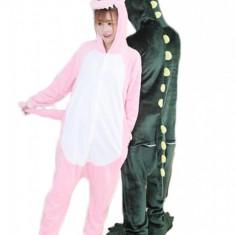 PJM45 Pijama kigurumi, tip salopeta cu model dinozaur roz, L