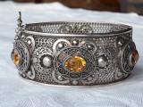 BRATARA argint cu CITRINE unicat FRANTA art deco SPLENDIDA manopera EXCEPTIONALA