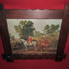 Tablou litografie  scena Englezeasca de vanatoare 71x61 cm