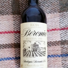 Vin rosu anul 1981 Bodegas Beronia Rioja vin vechi rar premium