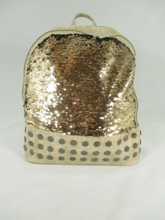 Rucsac/ghiozdan mare auriu cu paiete+CADOU