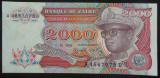 Bancnota EXOTICA 2000 ZAIRES - ZAIR, anul 1991  *cod 206