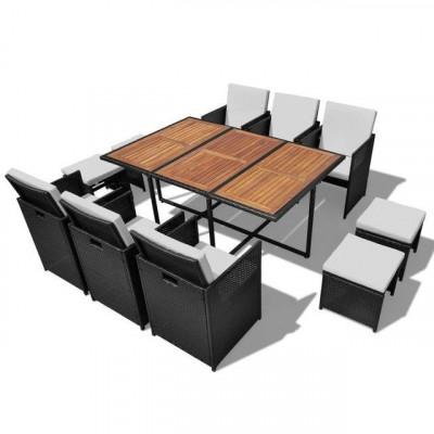 Set mobilier de exterior 27 piese, poliratan ?i acacia, negru foto