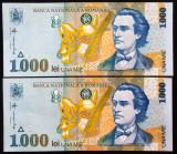 Lot / Set 2 Bancnote Serii Consecutive 1000 Lei - ROMANIA 1998 *cod 370 UNC