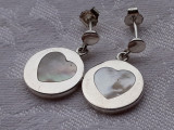 CERCEI argint cu anturaj  INIMIOARE SIDEF rotunzi FINUTI delicati ELEGANTI