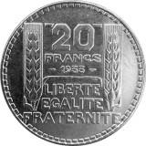 Franta moneda argint 20 francs 1933 - Rar UNC - in capsula, Europa