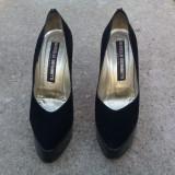 Pantofi Marcello Giovannetti piele întoarsă negri, 38, 38.5, Negru, Cu toc