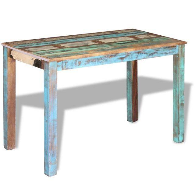 Masa bucătărie din lemn masiv reciclat, 115x60x76 cm foto mare