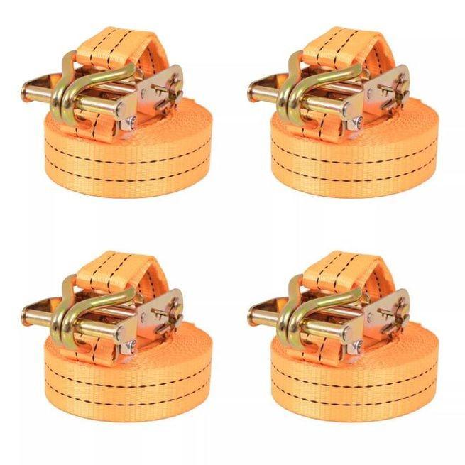 Chingi fixare cu clichet, 4 buc., 2 tone, 6mx38 mm, portocaliu
