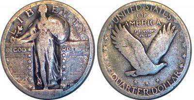 USA - 1/4 dollar 1917-1927 Argint 6  Grame foto