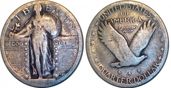 USA - 1/4 dollar 1917-1927 Argint 6  Grame