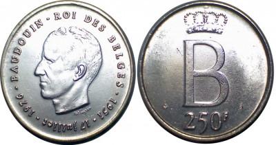 Belgia - 250 francs 1976 Argint 25 Grame Versiunea Flamanda XF foto