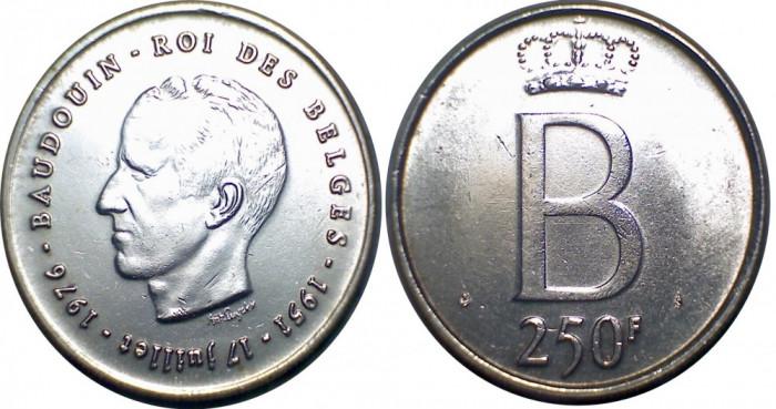 Belgia - 250 francs 1976 Argint 25 Grame Versiunea Flamanda XF