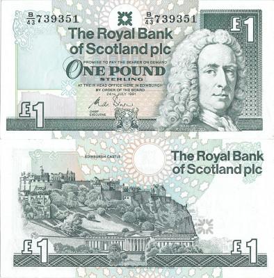 1991 (24 VII), 1 pound sterling (P-351b) - Scoția - stare UNC! (CRC: 58%) foto