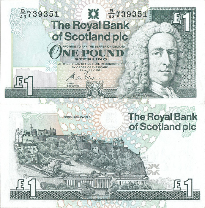 1991 (24 VII), 1 pound sterling (P-351b) - Scoția - stare UNC! (CRC: 58%)
