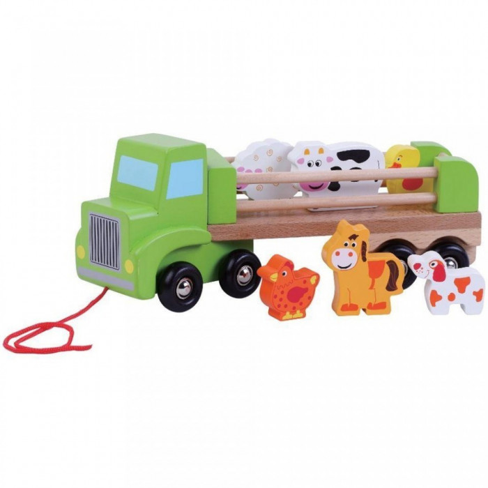 Camion din lemn cu animale Ferma - Sun Baby foto mare