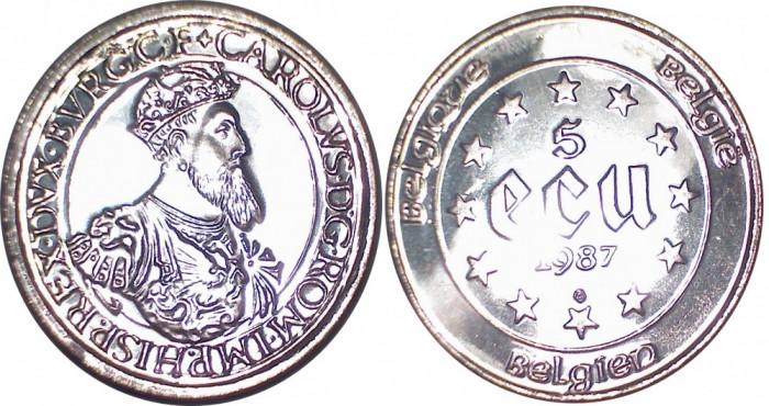Belgia - 5 ecu 1987 Argint 23 Grame UNC