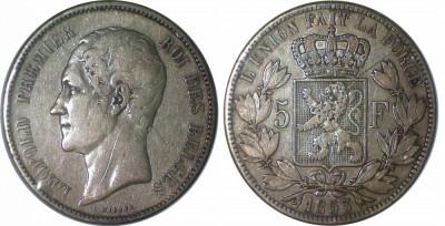 Belgia - 5 francs 1853 Argint 25 Grame foto