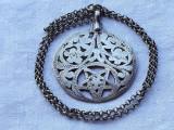 MEDALION argint TUNISIA etnic TRIBAL masiv Simbol FERTILITATE +Lant argint MASIV