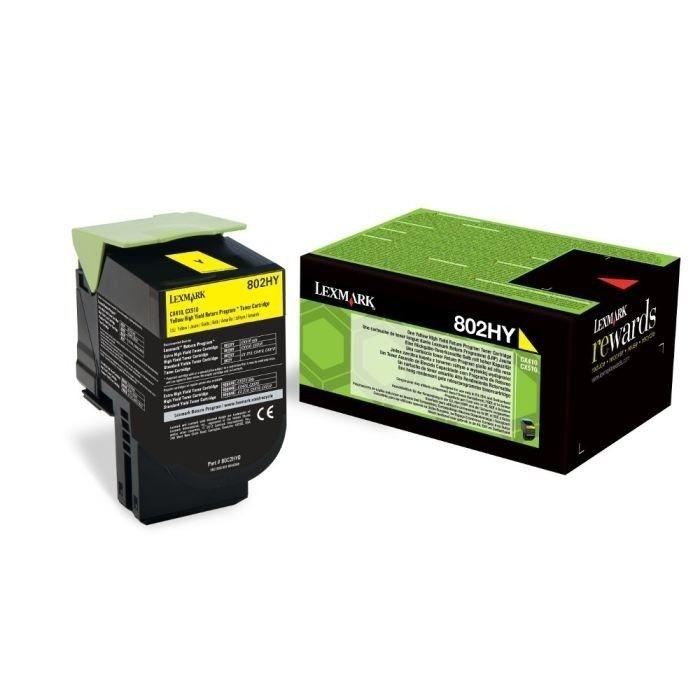 Toner Original pentru Lexmark Yellow 802HY, compatibil CX310/410/510, 3000pag... foto mare