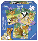PUZZLE BAMBI, 3 BUC IN CUTIE, 25/36/49 PIESE, Ravensburger