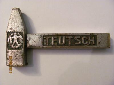 PVM - Ciocan / prespapier vechi de bronz placat cu nichel inscriptionat TEUTSCH foto