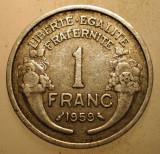 2.064 FRANTA 1 FRANC 1959 BUFNITA OWL, Europa, Aluminiu
