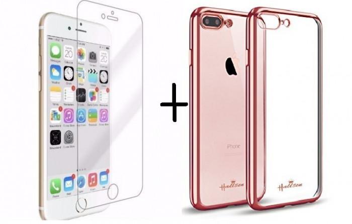 Pachet husa Elegance Luxury placata Rose-Gold pentru Apple iPhone 7 cu folie de protectie gratis