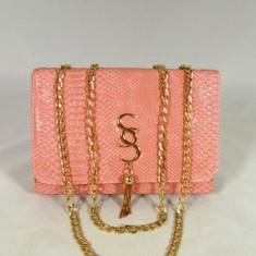 Geanta/plic dama roz cu curea lant+CADOU, Din imagine, Medie