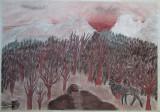 Peisaj cu caprior - semnat  Runic