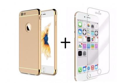 Pachet husa Elegance Luxury 3in1 Gold pentru Apple iPhone 6 / Apple iPhone 6S cu folie de sticla gratis foto
