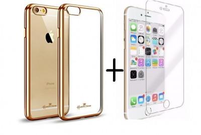 Pachet Husa ELEGANCE LUXURY pentru Apple Iphone 6 / Apple Iphone 6S PLACATA AURIU (ELECTROPLATING GOLD) cu folie de protectie gratis foto