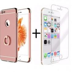Pachet husa Elegance Luxury 3in1 Ring Rose-Gold pentru Apple iPhone 6 Plus / Apple iPhone 6S Plus cu folie de sticla gratis