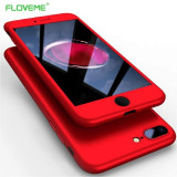Husa FullBody Elegance Luxury Red pentru Apple iPhone 7 Plus acoperire completa 360 grade cu folie de protectie gratis