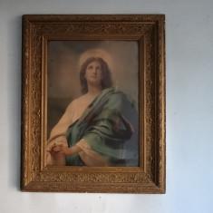 Icoana veche pictata pe panza, pictura in ulei, Portrete, Abstract