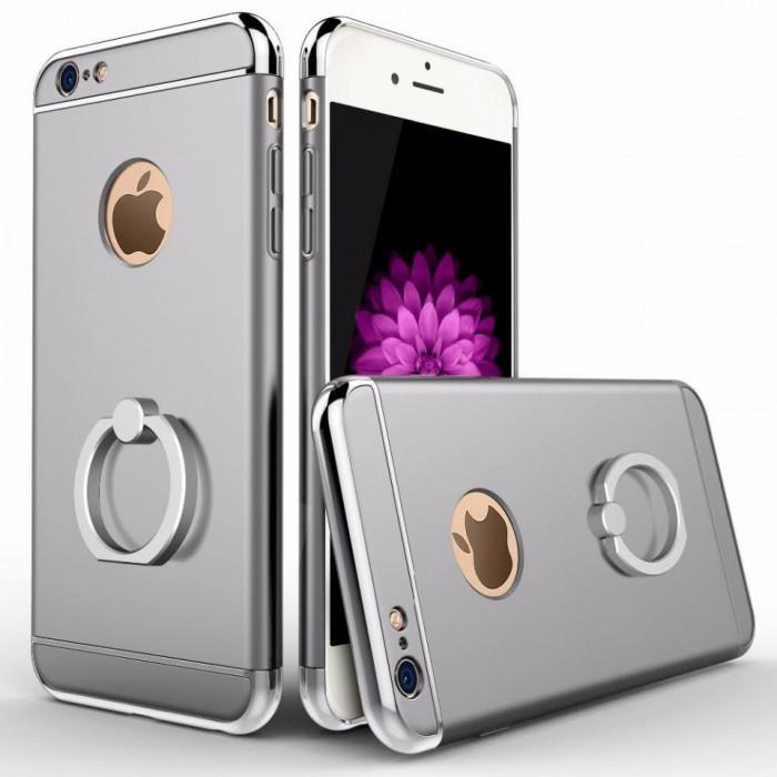 Husa Elegance Luxury 3in1 Ring Silver pentru Apple iPhone 6 Plus / Apple iPhone 6S Plus