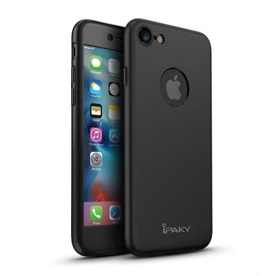 Husa FullBody Elegance Luxury iPaky Black pentru Apple iPhone 7 acoperire completa 360 grade cu folie de protectie gratis ! foto