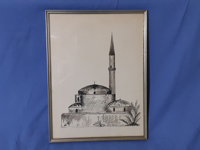 Tablou vechi in creion carbune foto