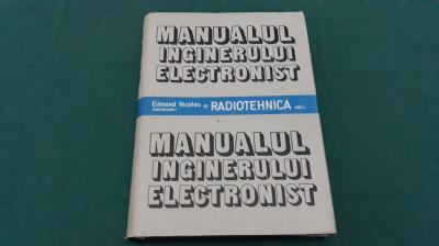 MANUALUL INGINERULUI ELECTRONIST* RADIOTEHNICA/ EDMOND NICOLAU/ 1987 foto