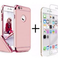 Pachet husa Elegance Luxury 3in1 Rose-Gold pentru Apple iPhone 6 Plus / Apple iPhone 6S Plus cu folie de sticla gratis