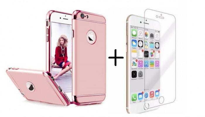 Pachet husa Elegance Luxury 3in1 Rose-Gold pentru Apple iPhone 6 Plus / Apple iPhone 6S Plus cu folie de sticla gratis foto mare