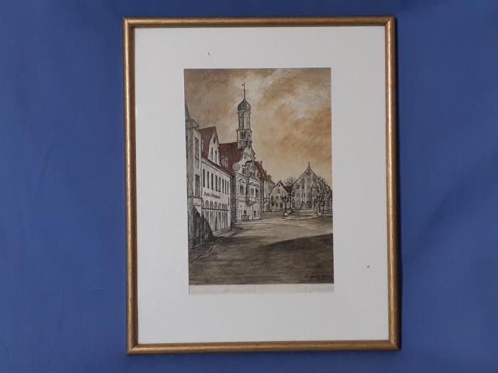 Tablou litografie gravura semnata de autor foto mare