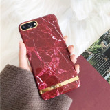 Husa ELEGANCE LUXURY Marble Red TPU , husa cu insertii marmura rosie- aurie , pentru Apple iPhone 7 Plus / Apple iPhone 8 Plus