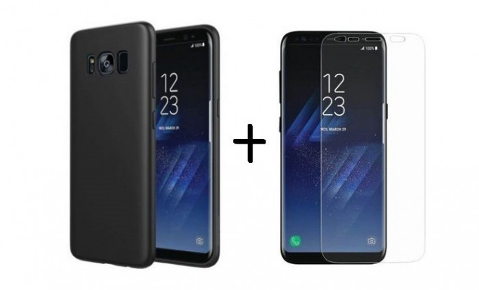 Pachet husa Elegance Luxury Slim Antisoc Black pentru Samsung Galaxy S8 cu folie de protectie gratis