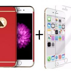 Pachet husa Elegance Luxury 3in1 Ultrasubtire Red pentru Apple iPhone 7 Plus cu folie de sticla gratis