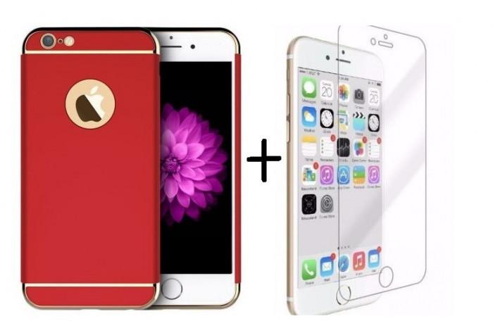 Pachet husa Elegance Luxury 3in1 Ultrasubtire Red pentru Apple iPhone 7 Plus cu folie de sticla gratis foto mare