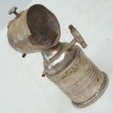 LAMPA VECHE DE BICICLETA PE CARBIT / CARBID - FACUTA DIN ALAMA NICHELATA
