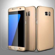 Husa FullBody Elegance Luxury Gold pentru Samsung Galaxy S7 Edge acoperire completa 360 grade cu folie de protectie gratis
