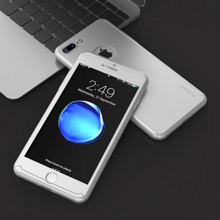 Husa FullBody Elegance Luxury Silver pentru Apple iPhone 7 Plus acoperire completa 360 grade cu folie de protectie gratis