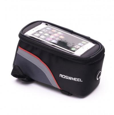 Husa telefon universala impermeabila pentru bicicleta tip borseta, rosu/negru foto